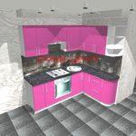 Кухня малиновая