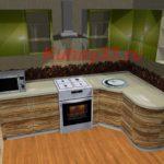 Кухня верх олива низ зебрано